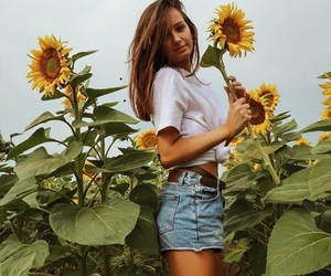 sunflower, girl, and summer image