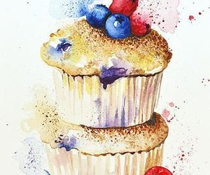 art, blueberries, and cupcake image