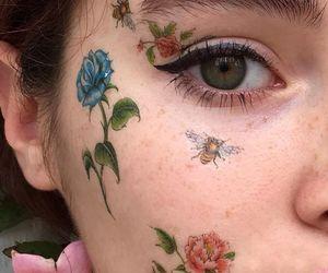 flowers, girl, and makeup image