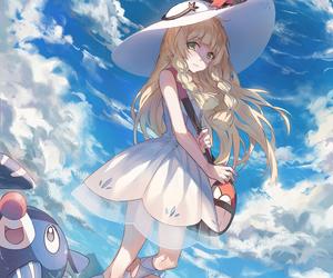 blue, white, and pokemon image