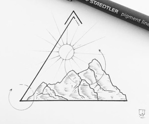 minimalistic, triangle, and mountains image