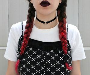 choker, colorful hair, and fashion image