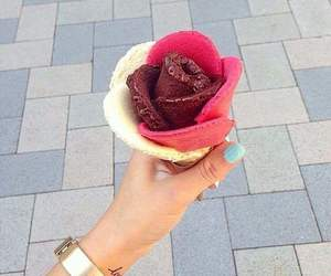 flower, ice cream, and pink image