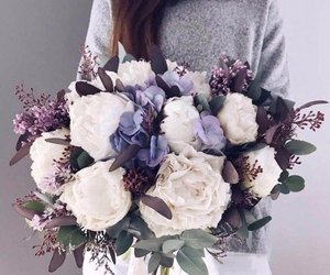 flowers, girl, and purple image