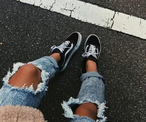 fashion, vans, and jeans image