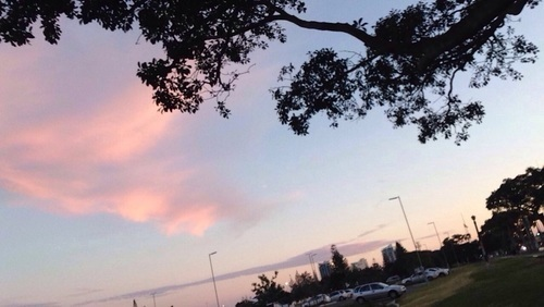 silhouette, sky, and sunset image