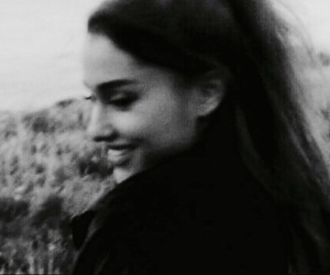 ariana grande and black and white image