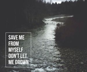 drown, quotes, and sad image