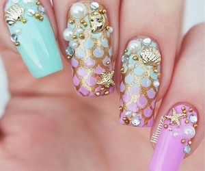 nails, mermaid, and style image