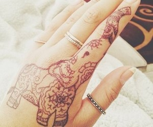 tattoo, henna, and elephant image