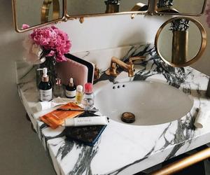 bathroom, flowers, and luxury image