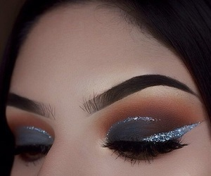 eyeliner, glitter, and makeup image