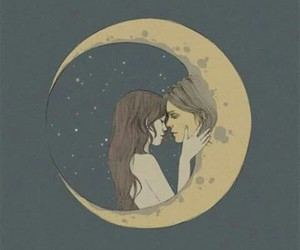 moon, art, and couple image
