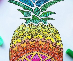 art, colorful, and pineapple image