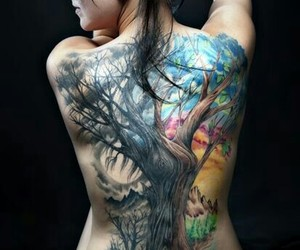 back tattoo, colorful, and girls tattoos image