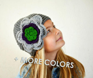 etsy, hat with flower, and crochet flower hat image
