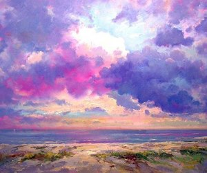 art, sky, and violet image