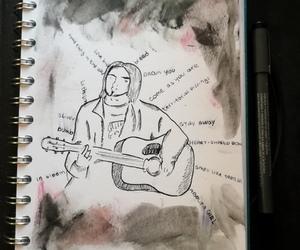 drawing, heart-shaped box, and kurt cobain image