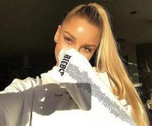 blonde hair, makeup, and eyes image