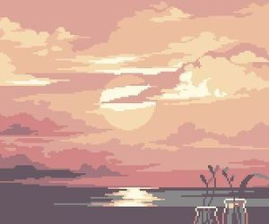 sunset, art, and pixel art image