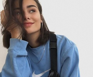 girl, blue, and nike image