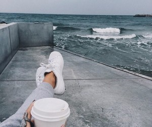 coffee, adidas, and sea image