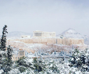 snow, Greece, and Athens image