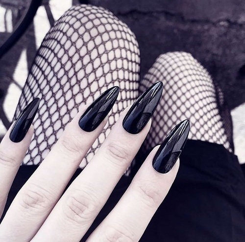 black, goth, and nails image