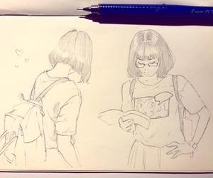 anime girl, art, and backpack image