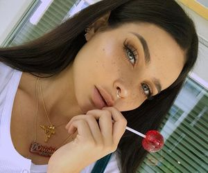 makeup, eyes, and lollipop image