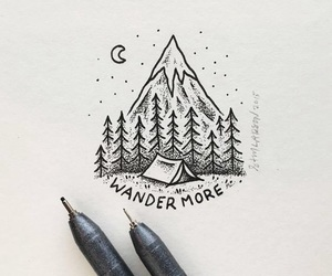 art, mountains, and drawing image