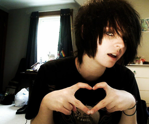 black, heart, and boy image