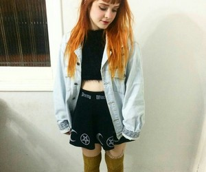 look, jaqueta jeans, and over the knee socks image