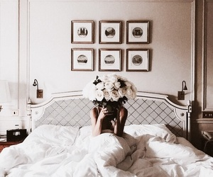 flowers, bed, and girl image