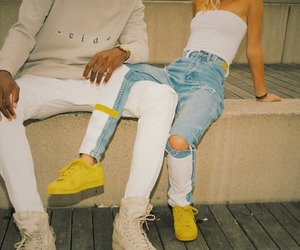 fashion, couple, and yellow image