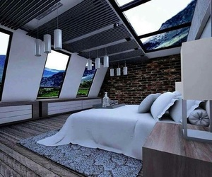bedroom, dream house, and roof image