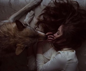 girl, wolf, and aesthetic image