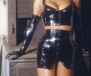 black, latex, and leather image