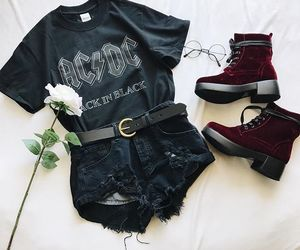 fashion, band tee, and ootd image