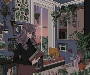 girl, art, and plants image