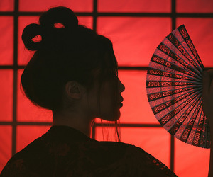 geisha, silhouette, and red image