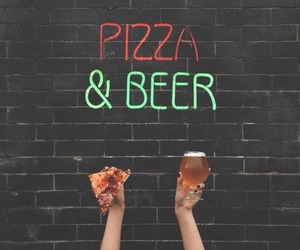 beer, pizza, and food image