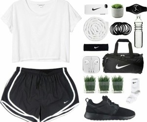 black, black and white, and workout outfit image
