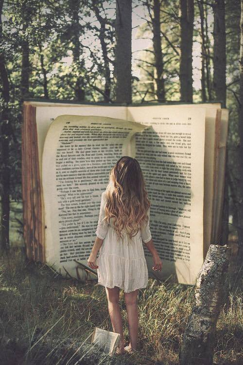 book, girl, and forest image