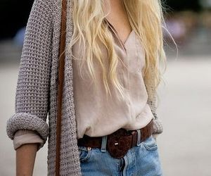 blonde, girl, and sweater image