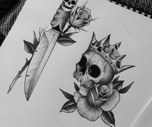flash, rose, and sketch image