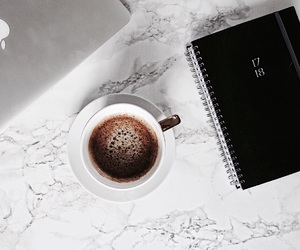 calender, coffee, and desk image