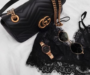 black, gucci, and gold image