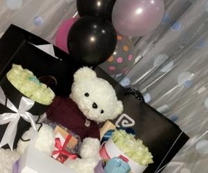 balloon, bear, and birthday image
