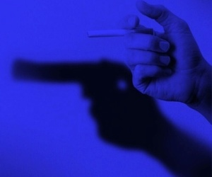 gun, cigarette, and smoke image